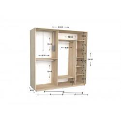 шкаф  купе гарант практик-100/2 2200*450(600)*2200(2400)