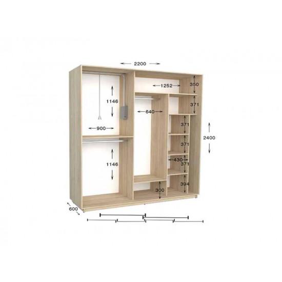 шкаф  купе гарант практик-101/2 2200*450(600)*2200(2400)