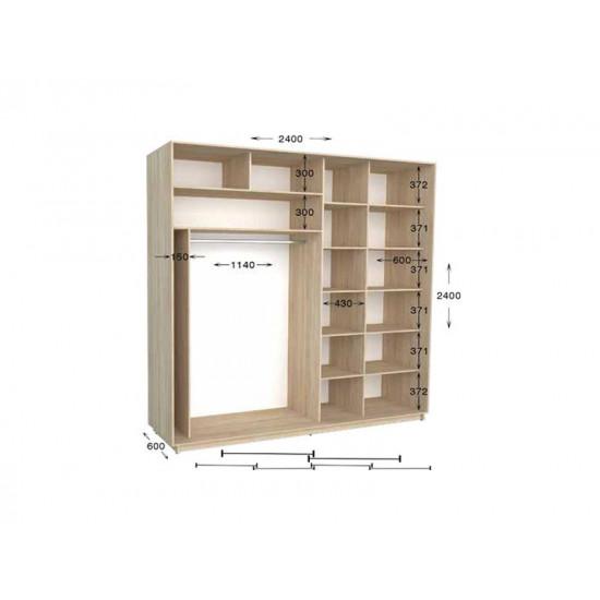 шкаф  купе гарант практик-118/4 2400*450(600)*2200(2400)