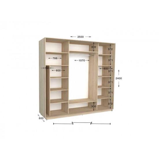 шкаф  купе гарант практик-124 2500*450(600)*2200(2400)