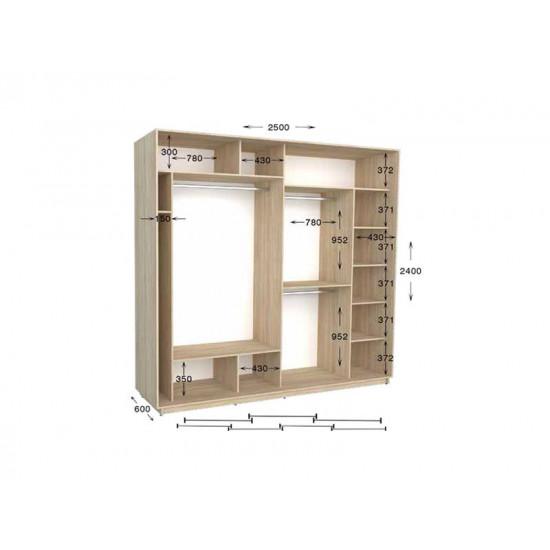 шкаф  купе гарант практик-128/4 2500*450(600)*2200(2400)
