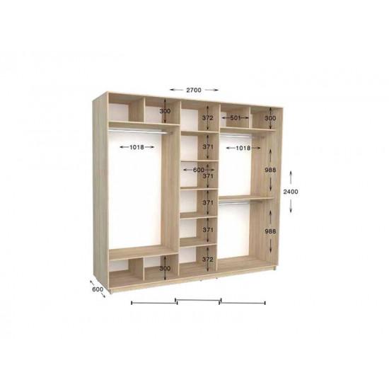 шкаф  купе гарант практик-137 2700*450(600)*2200(2400)