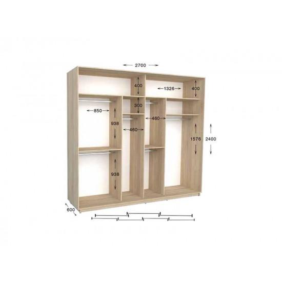шкаф  купе гарант практик-141/3 2700*450(600)*2200(2400)