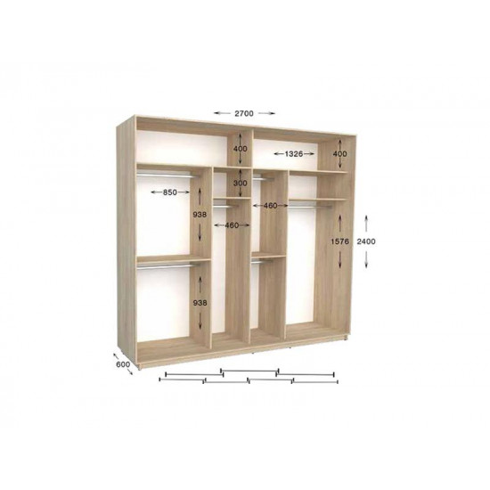 шкаф  купе гарант практик-141/4 2700*450(600)*2200(2400)
