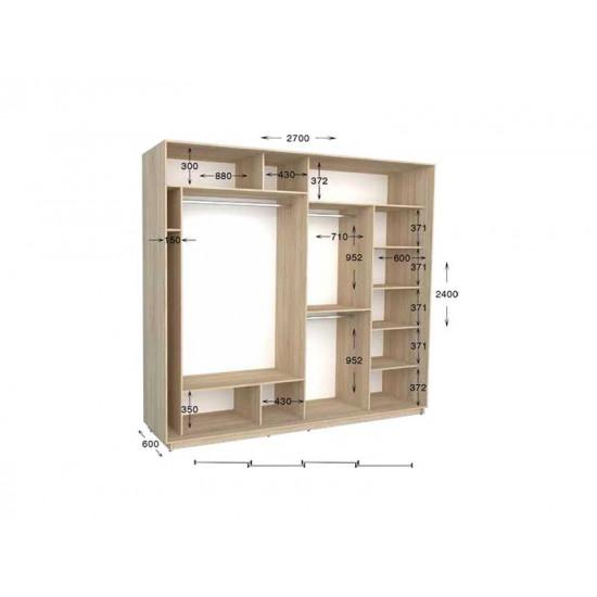 шкаф  купе гарант практик-144 2700*450(600)*2200(2400)
