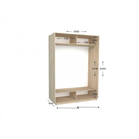 шкаф  купе гарант практик-45 1500*450(600)*2200(2400)