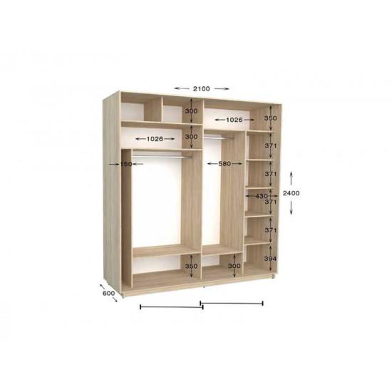 шкаф  купе гарант практик-91 2100*450(600)*2200(2400)