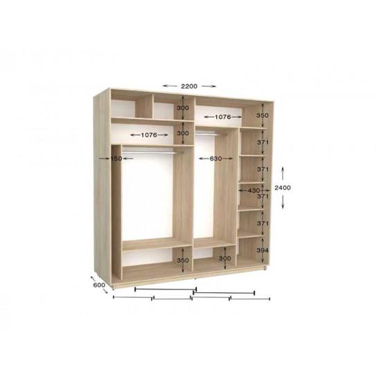шкаф  купе гарант практик-99/2 2200*450(600)*2200(2400)