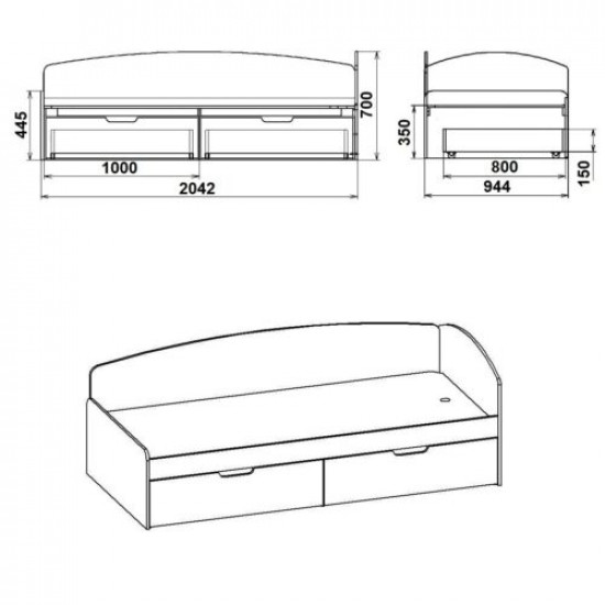 Кровать-90+2c
